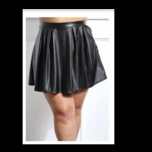 Black Faux Leather PLUS Skater Skirt